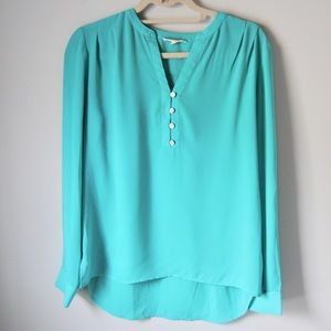 Pleione long-sleeve teal Henley top small